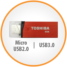 Toshiba Micro USB3.0 Flash Drive Duo - 2-in-1 Flash Drive
